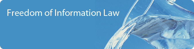 Freedom Of Information Law Banner - Water being poured out of a glass jar.