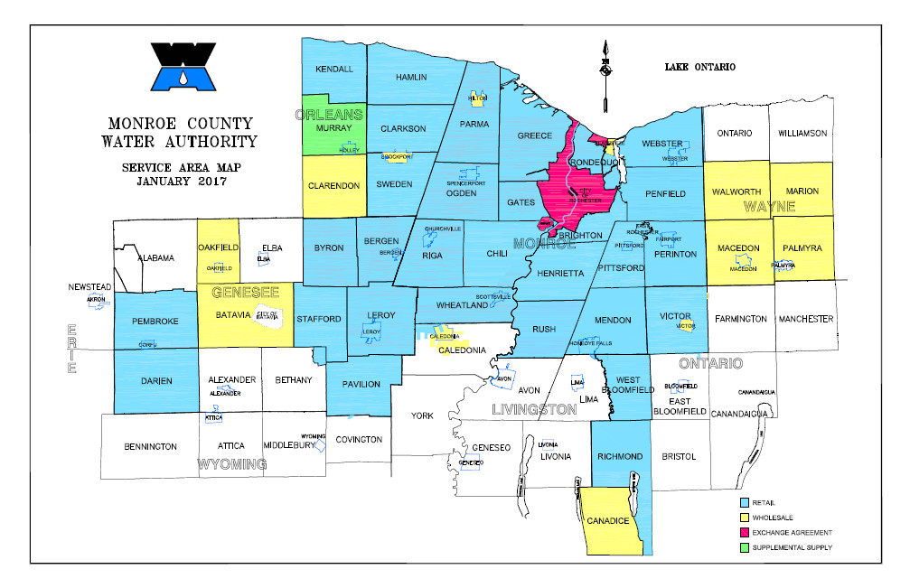 Service Area Map of Monroe County Water Authority