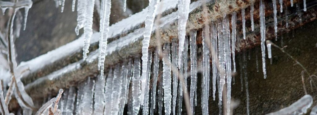 Icicles formed on pipes