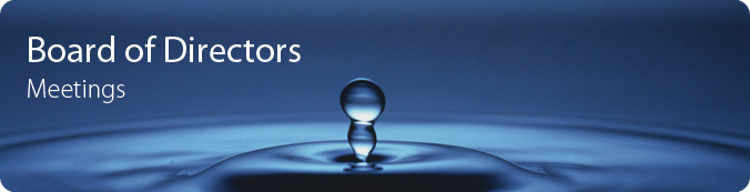 Board of Directors Meetings banner - two water bubbles emerging from splash.